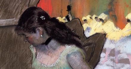 Edgar Degas: The Entrance of the Masked Dancers (1882) detail