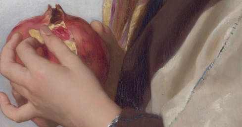 Girl with a pomegranate, by William Bouguereau (detail)