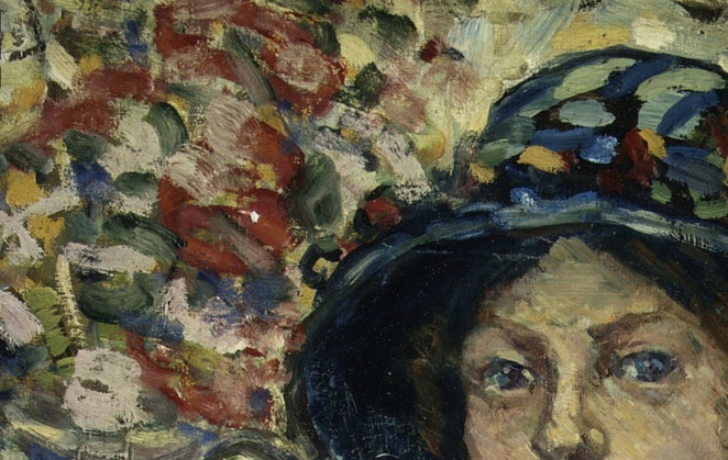 "Maurice Prendergast, ""Portrait of a Girl with Flowers"", 1913, Bequest of Miss Adelaide Milton de Groot (1876–1967), Metropolitan Museum of Art, New York, NY, Public Domain (detail)"