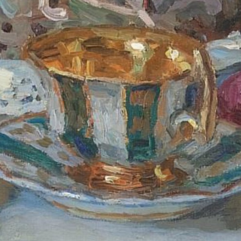 Nikolai Petrovich Bogdanov-Belsky, (1868-1945), Easter Table, signed in Latin l.l., oil on canvas, 88.5 by 71.5cm., 34¾ by 28in., Source: Sotheby's, (detail)