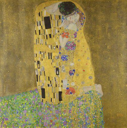 Gustav Klimt, The Kiss [Public domain], via Wikimedia Commons