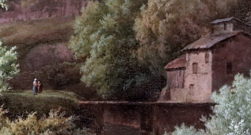 Barend Cornelis Koekkoek. 1803-1862 La Haye. Paysage de rivière avec des pêcheurs d'écrevisses. River landscape with crayfish catchers. Dordrecht Museum Le paysage romantique néerlandais The Dutch romantic landscape by jean louis mazieres (detail)