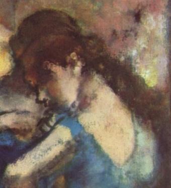 Dancers in Blue (1895). Edgar Degas (French, 1834-1917). Oil on canvas. Musée d'Orsay. detail