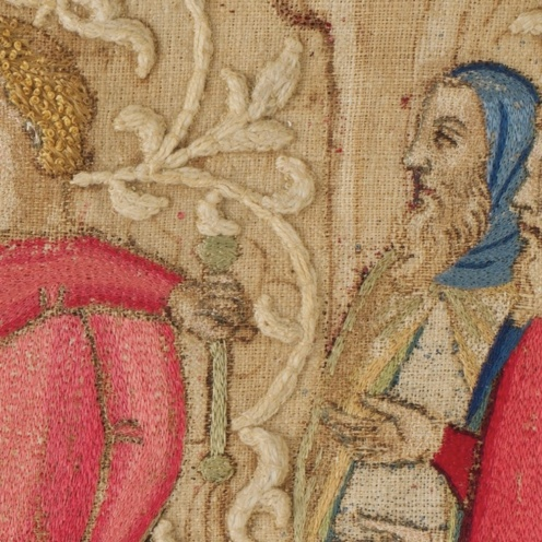 The Flagellation, embroidered textile silk and metallic thread on linen, needlework attributed to Geri Lapi, Mid 14th Century, Credit Line: Bequest of Charles F. Iklé, 1963, MMA, (detail)