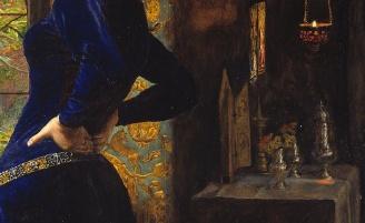 Sir John Everett Millais, Mariana, 1851, oil on wood, 597 x 495 mm (Tate Britain) detail
