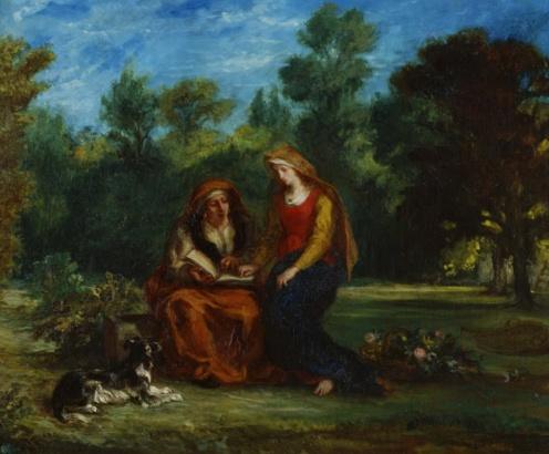L'Éducation de la Vierge (The Education of the Virgin) (1852). Eugène Delacroix (French, 1798-1863. Oil on canvas. Musée national Eugène-Delacroix