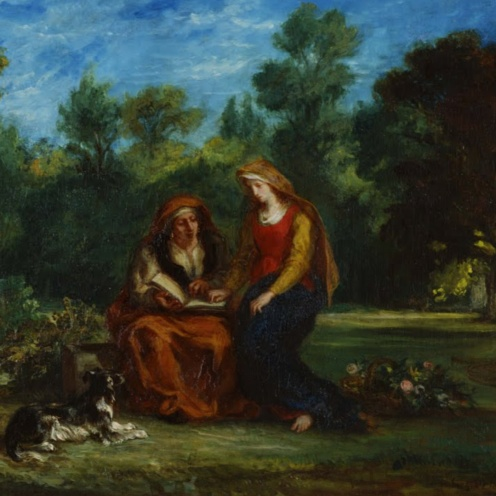 L'Éducation de la Vierge (The Education of the Virgin) (1852). Eugène Delacroix (French, 1798-1863. Oil on canvas. Musée national Eugène-Delacroix