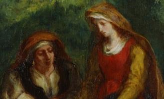 L'Éducation de la Vierge (The Education of the Virgin) (1852). Eugène Delacroix (French, 1798-1863. Oil on canvas. Musée national Eugène-Delacroix (detail)