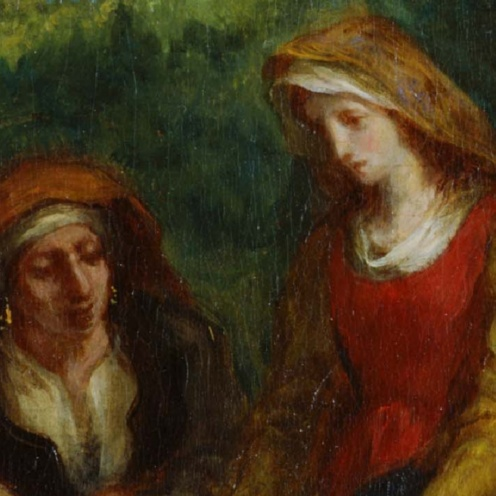L'Éducation de la Vierge (The Education of the Virgin) (1852). Eugène Delacroix (French, 1798-1863. Oil on canvas. Musée national Eugène-Delacroix (detail)