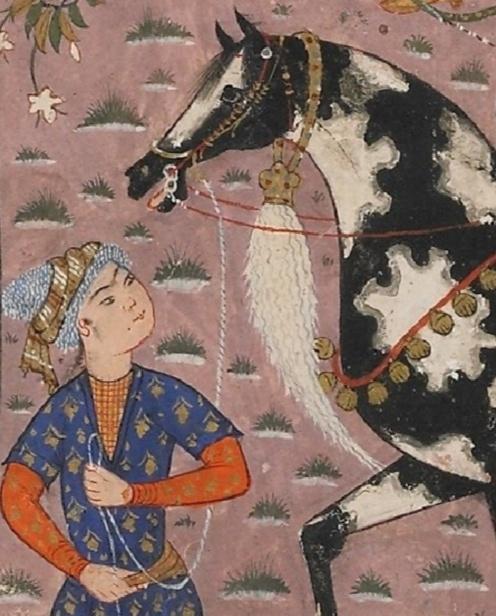 Folio from a Shahnama (Book of kings) by Firdawsi (d.1020); verso: Rustam rescues Bijan from the pit; r Via Google Arts & Culture (detail)