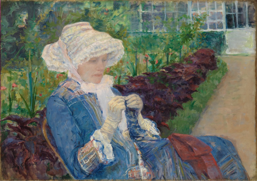 Lydia Crocheting in the Garden at Marly by Mary Cassatt (1880), image source: TheMet