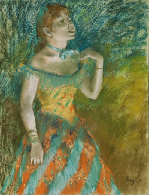 Edgar Degas: The Singer in Green (c.1884), Pastel on light blue laid paper,23 3/4 x 18 1/4 in. (60.3 x 46.4 cm), Credit Line: Bequest of Stephen C. Clark, 1960, Source: TheMet