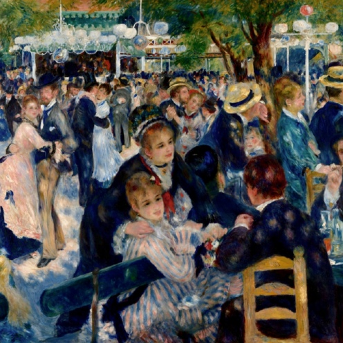 Bal du moulin de la Galette, 1876, by Pierre-Auguste Renoir (1841-1919) Oil on canvas, Paris, Musée d'Orsay, image source Google Arts and Culture