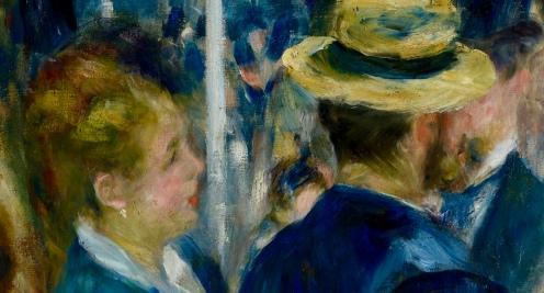 Bal du moulin de la Galette, 1876, by Pierre-Auguste Renoir (1841-1919) Oil on canvas, Paris, Musée d'Orsay, image source Google Arts and Culture, detail