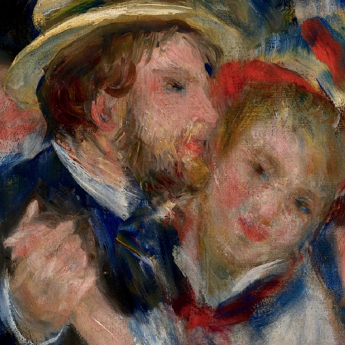 Bal du moulin de la Galette, 1876, by Pierre-Auguste Renoir (1841-1919) Oil on canvas, Paris, Musée d'Orsay, image source Google Arts and Culture, detail