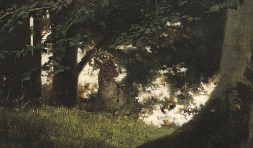 Gyula Benczur, Reading Woman in the Forest, 1875, size: 87,5 x 116,5 cm, Technique: Oil , Canvas, Rights: Hungarian National Gallery, Hungarian National Gallery, External Link: Hungarian National Gallery, Source: Wikimedia, detail.