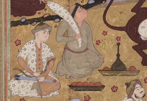 Manuscript painting of Gayumarth from the Shahnameh of Firdawsi, unknown artist, mid-16th century Iran, Royal Ontario Museum, Source: Google Arts & Culture, detail