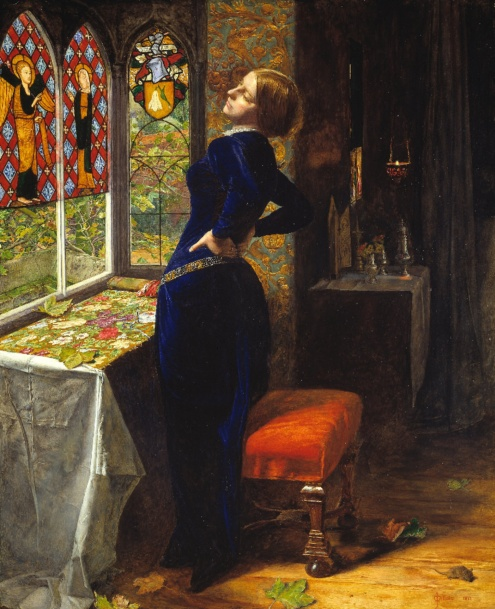 Sir John Everett Millais, Mariana, 1851, oil on wood, 597 x 495 mm (Tate Britain)