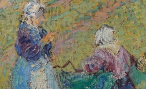 Nikolai Alexandrovich Tarkhov, Les Bretonnes, oil on canvas, source: Sotheby's http://www.sothebys.com/en/auctions/ecatalogue/2011/important-russian-art-/lot.18.html (detail)