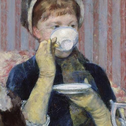 Tea by Mary Cassatt, 1880, oil on canvas, 25½ × 36¼ in., Museum of Fine Arts, Boston (detail)