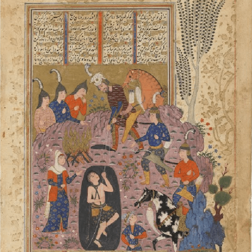 Folio from a Shahnama (Book of kings) by Firdawsi (d.1020); verso: Rustam rescues Bijan from the pit; r Via Google Arts & Culture