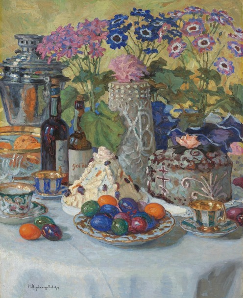 Nikolai Petrovich Bogdanov-Belsky, (1868-1945), Easter Table, signed in Latin l.l., oil on canvas, 88.5 by 71.5cm., 34¾ by 28in., Source: Sotheby's