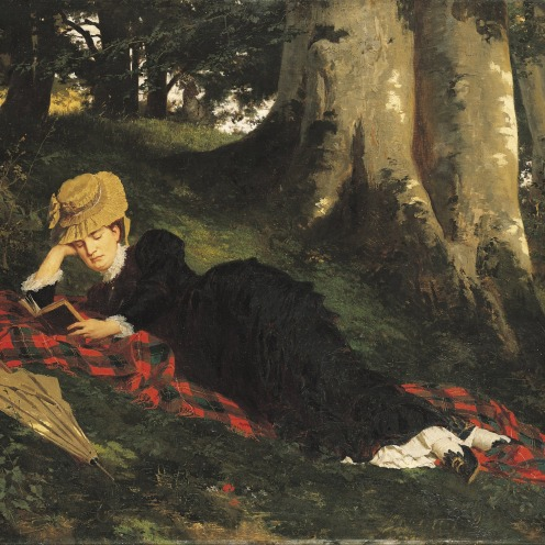 Gyula Benczur, Reading Woman in the Forest, 1875, size: 87,5 x 116,5 cm, Technique: Oil , Canvas, Rights: Hungarian National Gallery, Hungarian National Gallery, External Link: Hungarian National Gallery, Source: Wikimedia