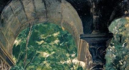 Santiago Rusiñol, Poblet Monastery (Catalan, 1861-1931) detail