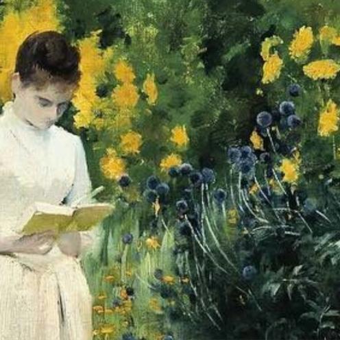 Reading on the Garden Path - Albert Aublet,1883, detail