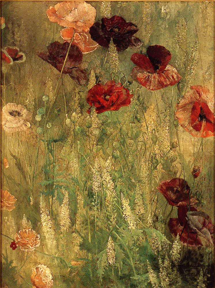 Poppies and Italian Mignotte – Thomas Wilmer Dewing (American; 1851-1938)