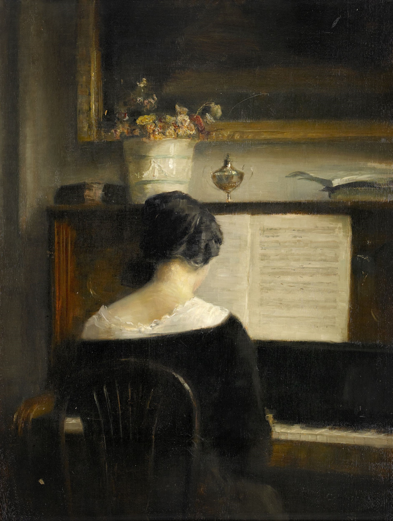 Interior with lady at the piano. Carl Vilhelm Holsøe (Danish, 1863-1935)
