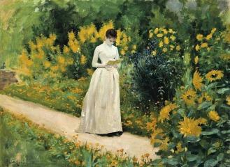 Reading on the Garden Path - Albert Aublet,1883