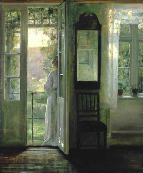 1900s Carl Holsoe (Danish, 1863-1935) - Girl standing on a Balcony