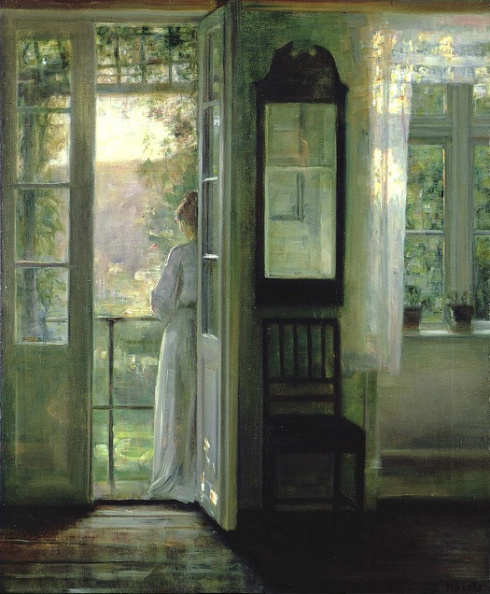 1900s Carl Holsoe (Danish, 1863-1935) - Girl standing on a Balcony