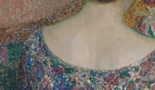 Maria with flowers, 1915, Leon de Smet, Image via womeninarthistory (detail)