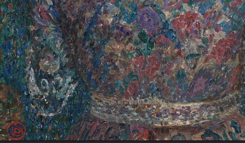 Maria with flowers, 1915, Leon de Smet, Image via womeninarthistory (detail)