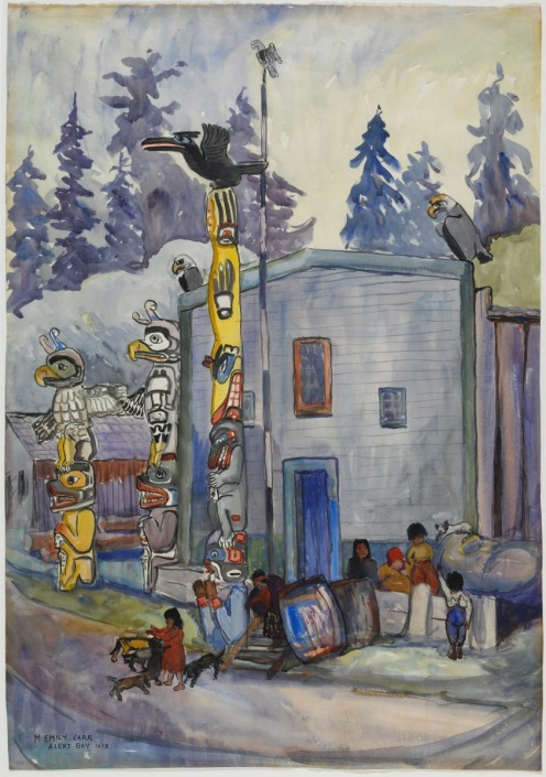 Emily Carr, Alert Bay (1912), watercolour over graphite on wove paper, 76.3 x 53.2 cm, Via National Gallery of Canada