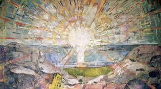The Sun by Edvard Munch, 1910-1911, mural over grand piano of Strauss (via Wikiart.org)