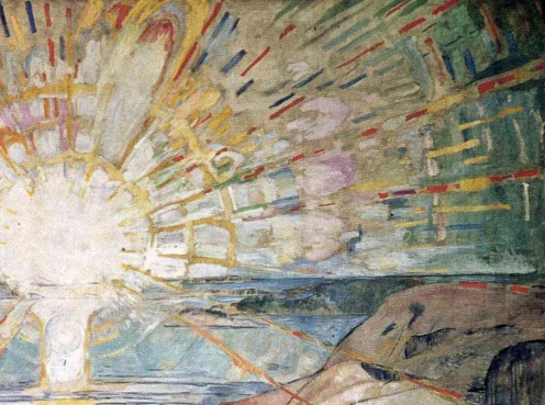 The Sun by Edvard Munch, 1910-1911, mural over grand piano of Strauss (via Wikiart.org)detail