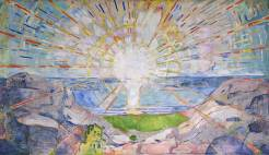 Version 3: The Sun by Edvard Munch, 1916, mural over grand piano of Strauss (via Wikiart.org)