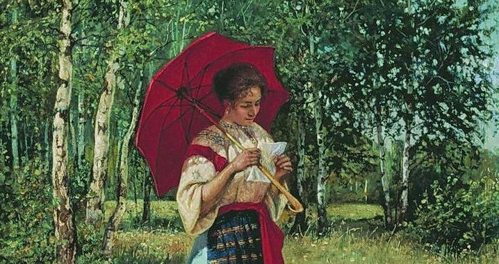Nikolay Bogdanov-Belsky: Reading the Letter, 1892 (detail)