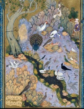 Folio 11r from a Mantiq al-tair (Language of the Birds) by Habiballah of Sava (active ca. 1590–1610)