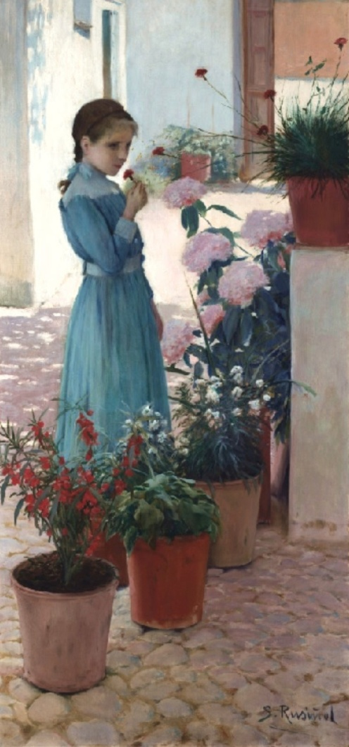 The girl with carnation (Teresa Mirabent Planas) Santiago Rusiñol (1893)