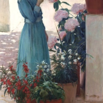 The girl with carnation (Teresa Mirabent Planas) Santiago Rusiñol (1893)