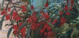 The girl with carnation (Teresa Mirabent Planas) Santiago Rusiñol (1893) detail