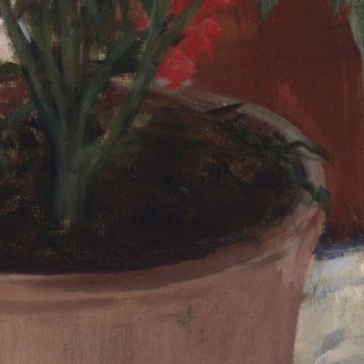 The girl with carnation (Teresa Mirabent Planas) Santiago Rusiñol (1893) detail