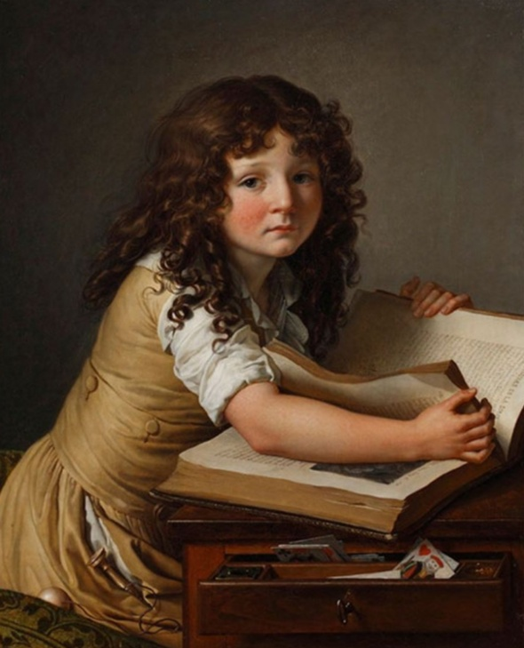Benoît Agnès Trioson Reading the Bible (1797). Anne-Louis Girodet de Roussy-Trioson (French, 1767-1824). Oil on canvas. Musée Girodet