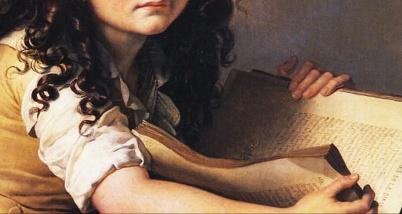 Benoît Agnès Trioson Reading the Bible (1797). Anne-Louis Girodet de Roussy-Trioson (French, 1767-1824). Oil on canvas. Musée Girodet (detail)
