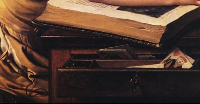 Benoît Agnès Trioson Reading the Bible (1797). Anne-Louis Girodet de Roussy-Trioson (French, 1767-1824). Oil on canvas. Musée Girodet (detail)