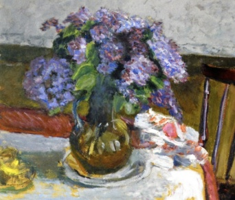 Pierre Bonnard: Interior, The Black Dog, and Bouquet of Lilacs (1908) detail
